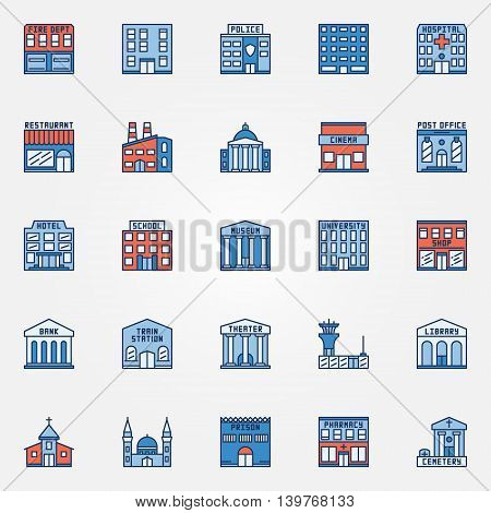 Colorful building icons set. Vector flat government buildings symbol. Hospital, fire dept, pharmacy, airport, train station and other city signs