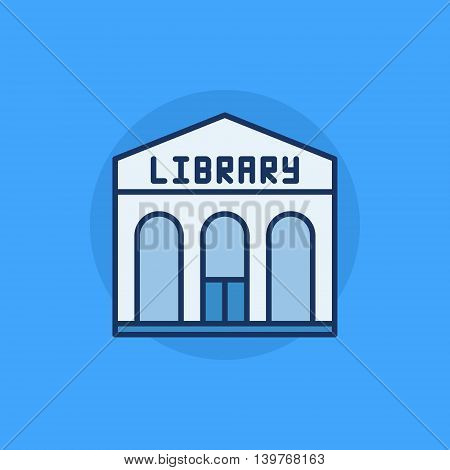 Library building flat icon - vector library colorful sign on blue background