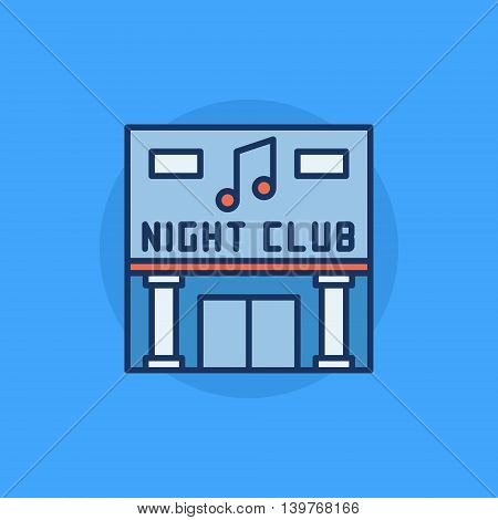Night Club building flat icon - vector nightclub symbol or sign on blue background