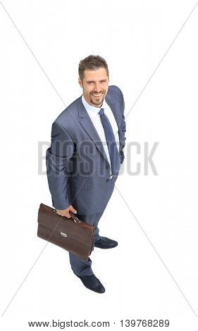 Portrait of a handsome business man standing isolated on white background
