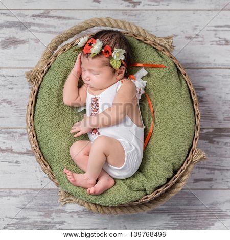 infant girl in Ukrainian costume sleeping in a wicker basket