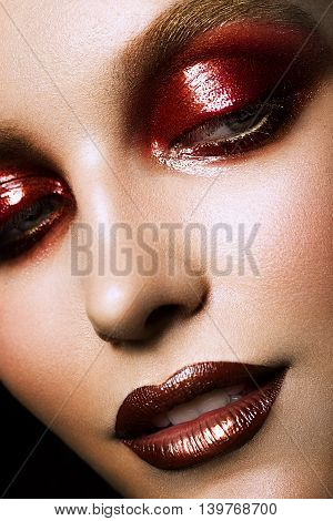 sensual glamour portrait of beautiful woman model lady with fresh makeup with red lips color and clean healthy skin face