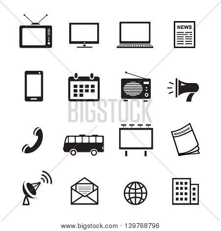 Advertising media silhouette icons, marketing and television, radio and internet content vector set