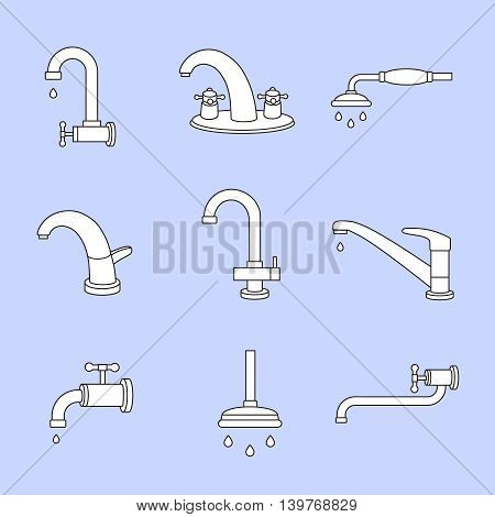Water tap or faucet line icons. Plumbing and equipment, valve and pipe vector set