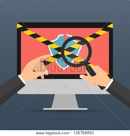 businessman hands hold a magnifying glass for find computer security fail for protected computer virus concept. Vector illustration technology data privacy and security concept.