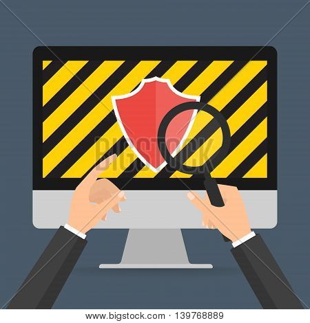 businessman hands hold a magnifying glass for find computer security for protected computer virus concept. Vector illustration technology data privacy and security concept.