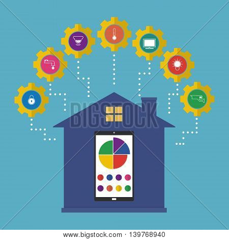 Smartphone for control of home device concept of smart house technology system with centralized control. Vector illustration smart home on internet of thing technology trend.