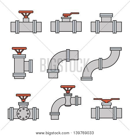 Vector icons of pipe connector, valve for plumbing and piping work.