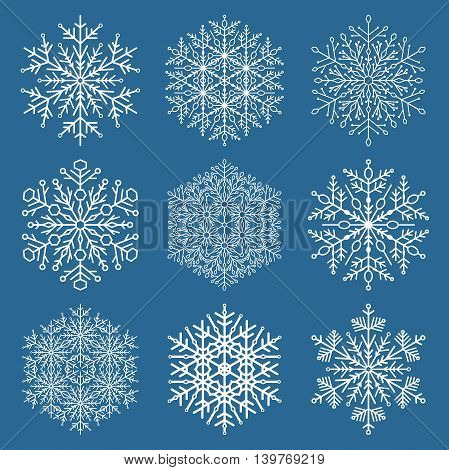 Set of vector snowflakes. Fine winter ornament. Snowflake collection. Blue and white colors