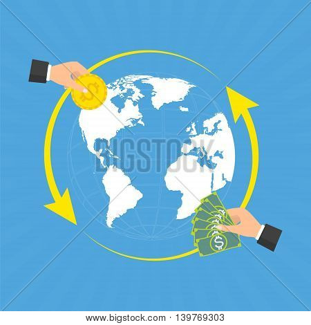 Businessman hands with coin and banknote for currency exchange on globe background with rays. Vector concept design of business world money exchange.