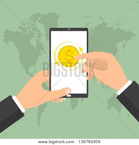 Businessman hand holding smart phone mobile for online currency exchange. Vector concept design of business world money exchange.