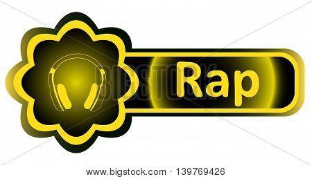 Double icon with a yellow gradient rap earphones
