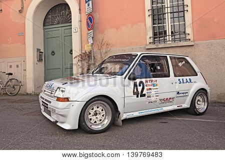 BRISIGHELLA RA ITALY - JULY 17: vintage rally car Renault 5 GT Turbo exposed during the meeting