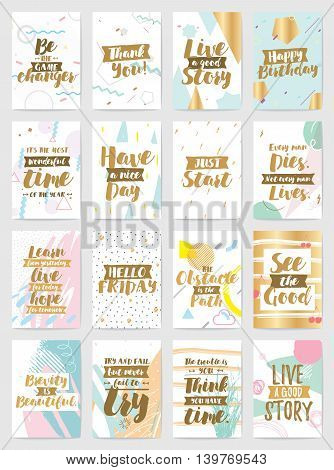 Creative cards with inspirational quotes on abstract geometric backgrounds. Thank you, happy birthday, etc. Trendy hipster style. Motivational text. Greeting cards, invitations, posters.