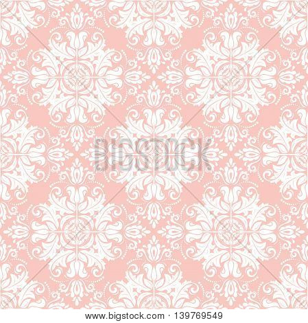 Elegant vector classic pattern. Seamless abstract background with repeating elements. Pink and white pattern