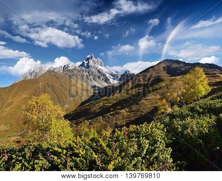 Sunny weather in the mountains. Autumn landscape with the top of Ushba. Main Caucasian ridge. Zemo Svaneti, Georgia