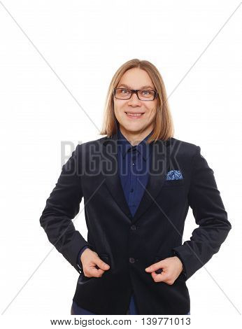 Long haired man isolated at white. Portrait of smiling guy looking at camera. Boy style, trendy middle-aged person in glasses and blue suit. Modern businessman.