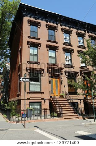 BROOKLYN, NEW YORK - JULY 19, 2016: New York City brownstones at historic Brooklyn Heights