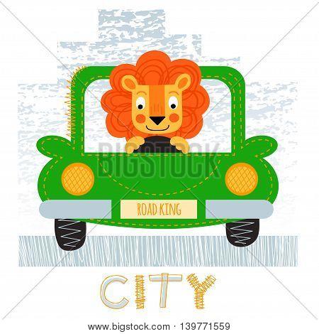 Lion with car t-shirt design vector illustration. City design vector illustration