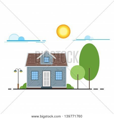 Cool flat line cityscape downtown house building. Urban linear cityscape with trees. Flat design modern vector urban landscape and city life. Cityscape row townhouse small town street building facade.