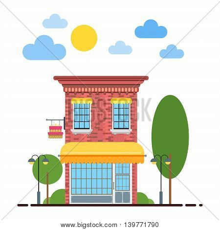 Candy shop flat design vector illustration of small business concept. Tasty candies shop cityscape row townhouse small town street building facade confectionery shop. Flat residential house