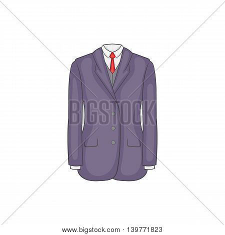 Men suit icon in cartoon style isolated on white background. Clothing symbol