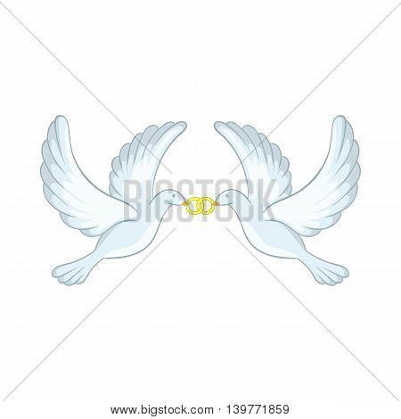 Doves with rings icon in cartoon style isolated on white background. Bird symbol