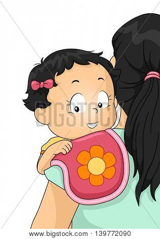 Illustration of a Mother Making Her Baby Burp