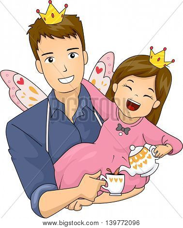 Illustration of a Father and Daughter Wearing Fairy Costumes Having a Tea Party
