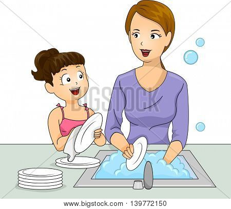 Illustration of a Little Girl and Her Mother Washing the Dishes Together