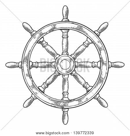 Ship wheel isolated on white background. Vector vintage engraving illustration with title MARINE. Hand drawn in a graphic style.