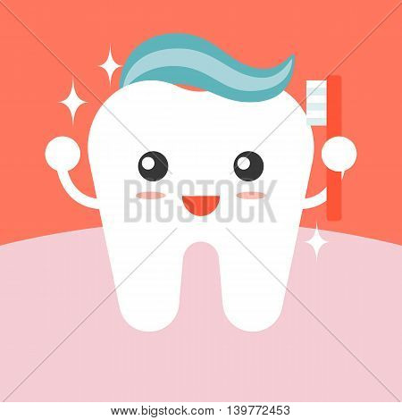 Vector tooth cleaning itself with toothpaste , flat design