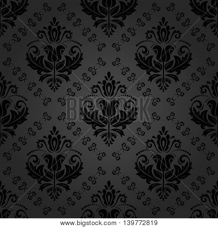 Elegant vector classic dark pattern. Seamless abstract background with repeating elements