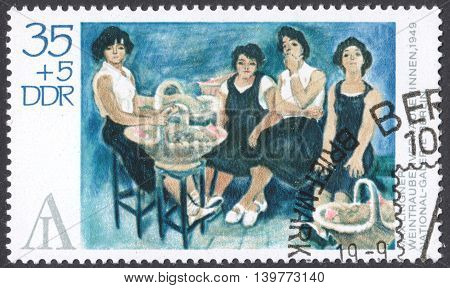MOSCOW RUSSIA - CIRCA FEBRUARY 2016: a post stamp printed in DDR shows painting