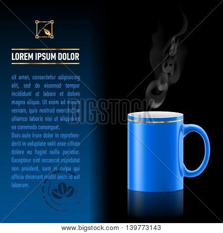 Blue cup of coffee stay on black background. Next sheet of paper with the test