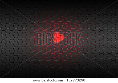 black hexagon and red neon light background and texture. 3d illustration.