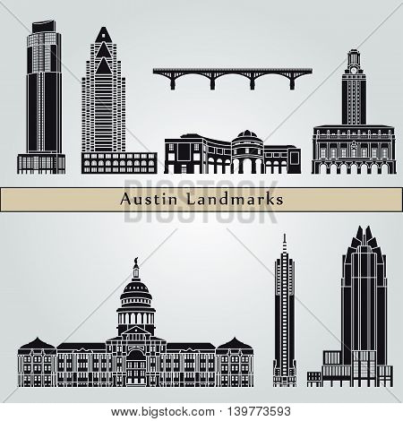 Austin landmarks and monuments isolated on blue background in editable vector file
