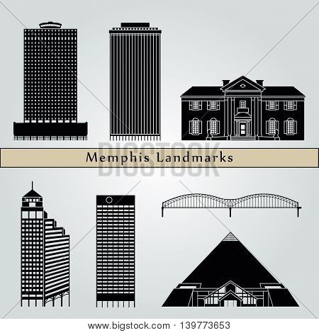 Memphis landmarks and monuments isolated on blue background in editable vector file