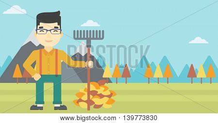 An asian young man raking autumn leaves. Man with rake standing near tree and heap of autumn leaves. Man tidying autumn leaves in garden. Vector flat design illustration. Horizontal layout.
