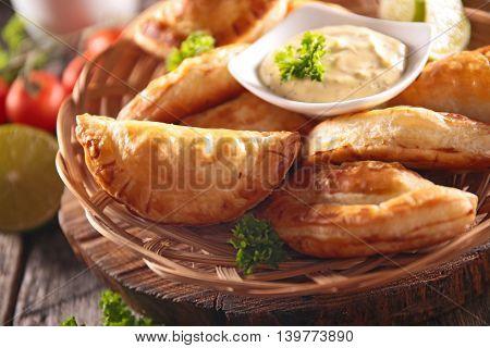 empanada and dip