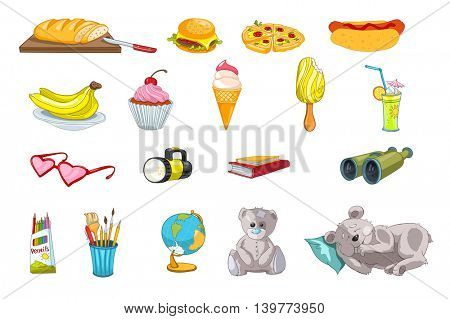 Set of fast food and sweets - pizza, hot dog, hamburger, cupcake, ice-cream. Set of kid things - books, pencils, teddy bear, brush for drawing, globe. Vector illustration isolated on white background.
