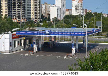 Cars refuel station TNK.July 23, 2016 Kiev, Ukraine