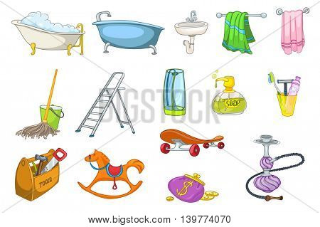 Set of bath toiletries and equipment - shower, towel, soap, toothpaste, washbasin, razor, bucket with mop. Collection of rocking horse, purse, hookah. Vector illustration isolated on white background.