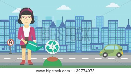 An asian young woman watering a tree with a recycle sign instead of crown on a city backround. Eco-friendly woman takes care of the environment. Vector flat design illustration. Horizontal layout.