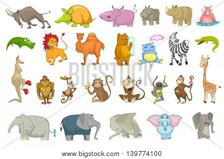 Vector set of wild animals illustrations. Collection of african animals. Set of mountain goat, hippopotamus, lion, camel, kangaroo, mammoth, lemur. Vector illustration isolated on white background.