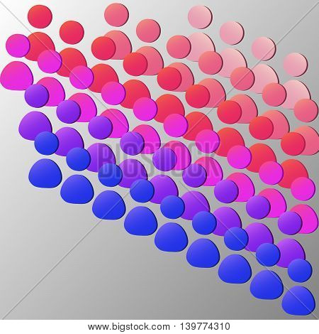 Vector illustration of little figures. Crowd of people looking at something. Colorful silhouettes of audience.