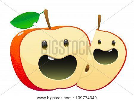 bright juicy tasty green apple cartoon two fun character