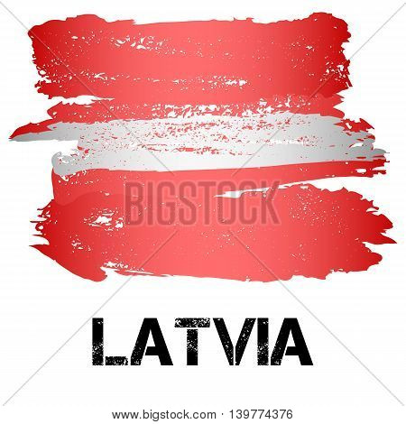 Flag of Latvia from brush strokes in grunge style isolated on white background. Country in Northern Europe. Vector illustration