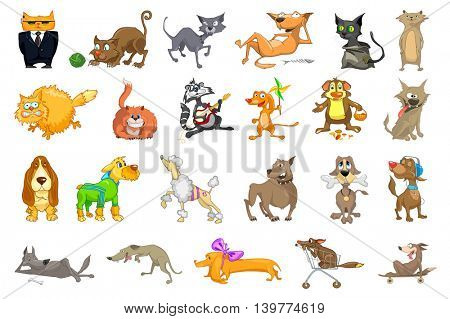 Collection of funny pets playing with ball of yarn, playing guitar, listening music, eating bone. Collection of cats and dogs different breeds. Vector illustration isolated on white background.