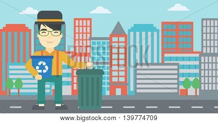 An asian young man carrying recycling bin. Man with recycling bin standing near a trash can on a city background. Vector flat design illustration. Horizontal layout.